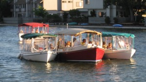 Duffy electric boats on Foster City Lagoon